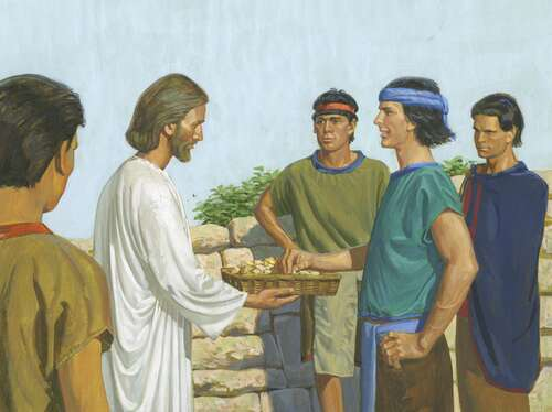 Jesus passing bread