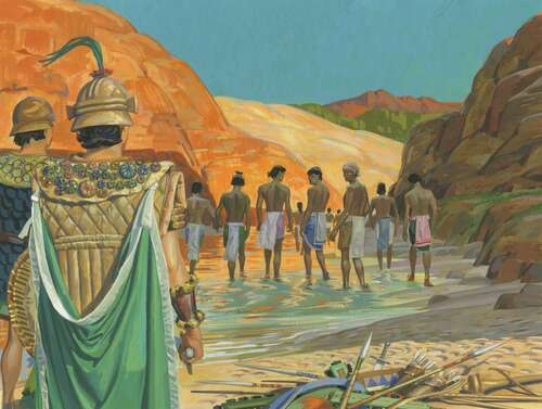 Lamanites walking away from Nephites