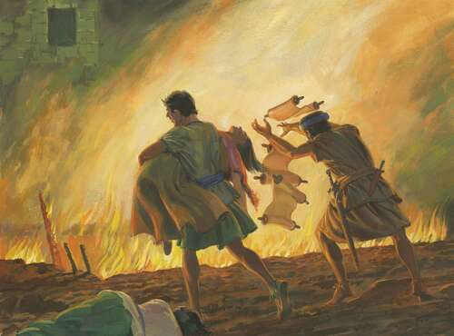men burning women and scriptures