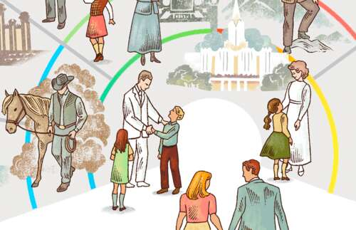 close-up of family history scenes with chart
