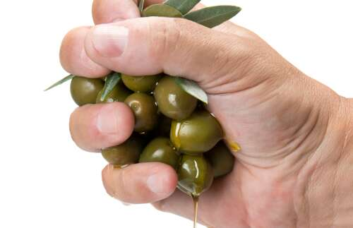 hand squeezing olives