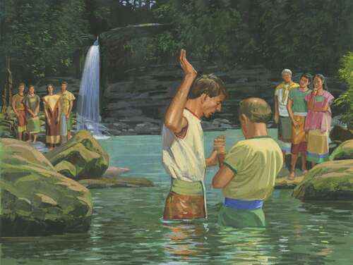 Alma the Younger baptizing others