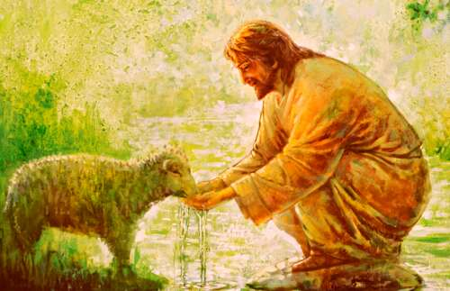 The Savior caring for a sheep
