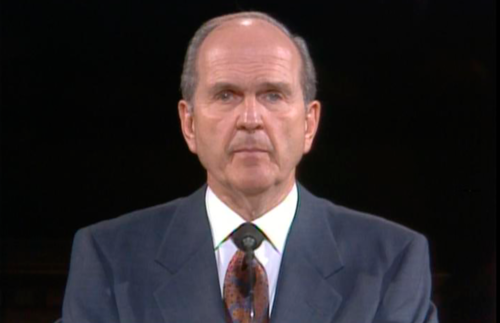 President Nelson speaking in 1995