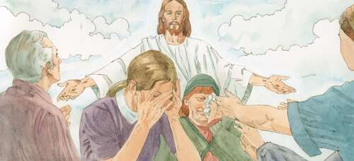 Jews crying at Jesus' wounds