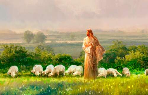 The Good Shepherd with His sheep