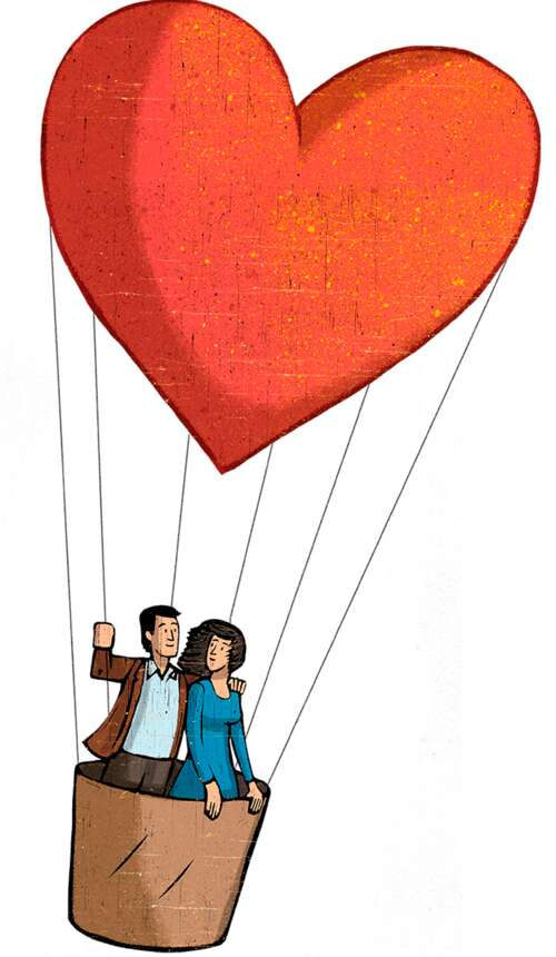 couple riding in a hot-air balloon