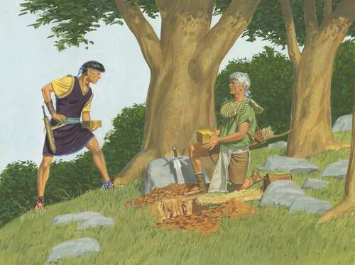 Mormon giving plates to Moroni