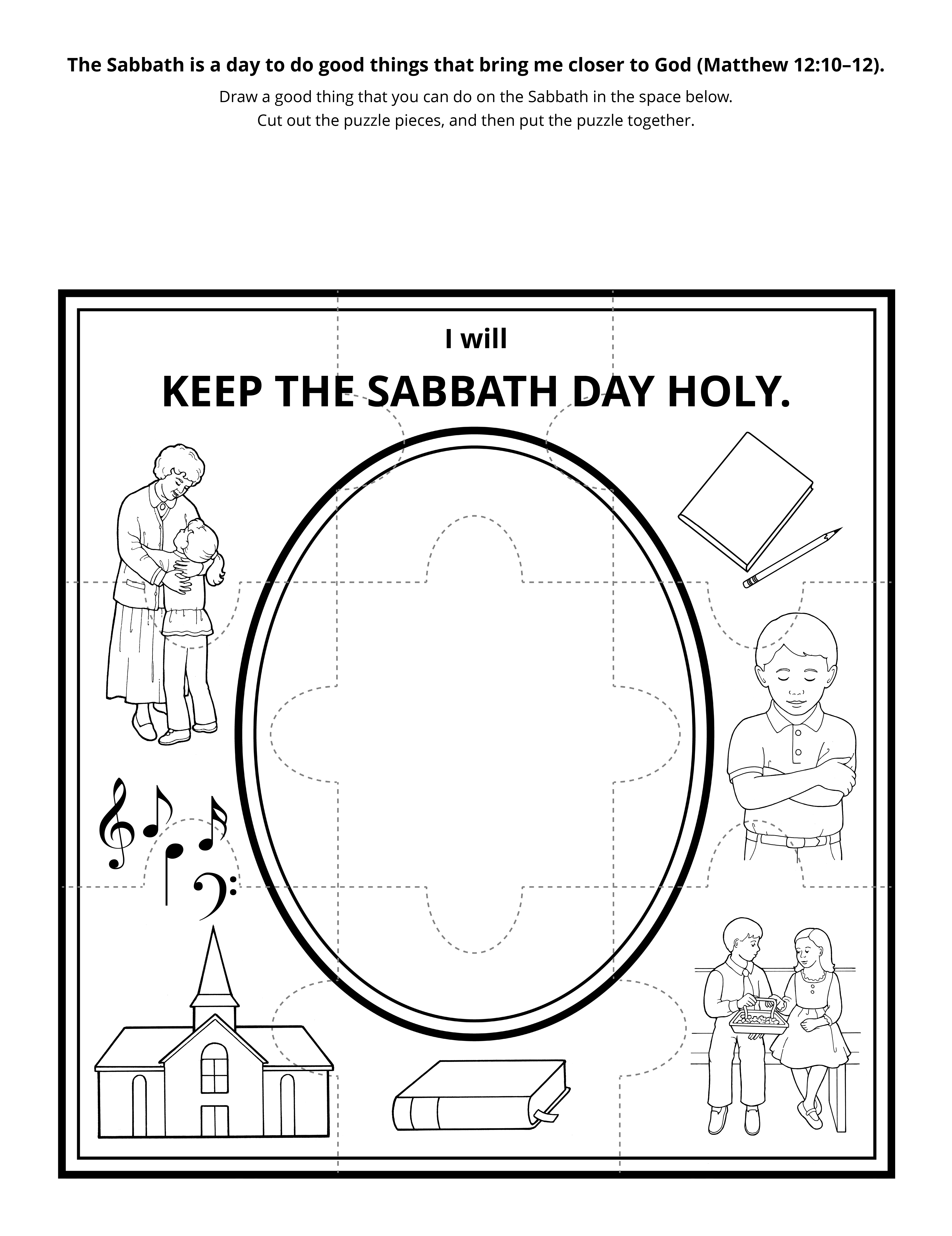 activity page: I will keep the Sabbath holy